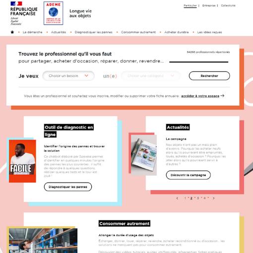 Page accueil site Longue vie aux objets
