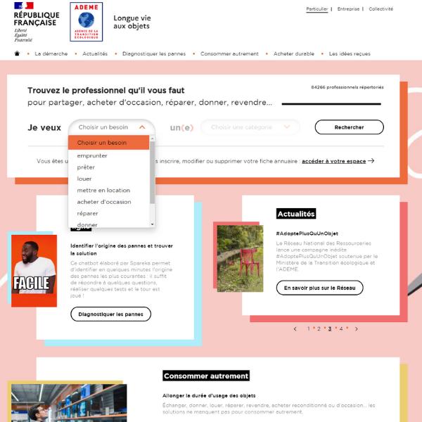 Page accueil site Longue vie aux objets - menu déorulant